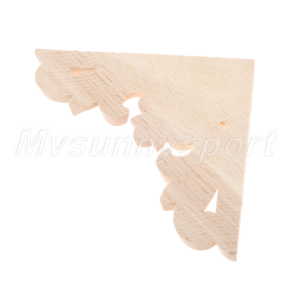 Unpainted Wood Carved Corner Decal Onlay Applique Frame Furniture Decor 1pc//4pcs